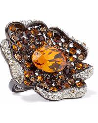 Kenneth Jay Lane - Woman Gunmetal-tone Crystal Ring Orange - Lyst