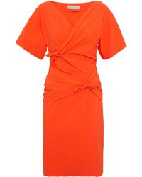 Emilio Pucci - Knotted Poplin Dress Bright Orange - Lyst