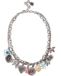 DANNIJO - Amabella Burnished Silver-tone, Crystal And Resin Necklace Silver - Lyst