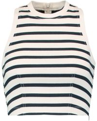 T By Alexander Wang - Cropped Striped Cotton Top Midnight Blue Size M - Lyst