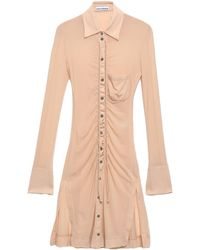 Paco Rabanne Ruched Jersey Shirt Beige - Natural