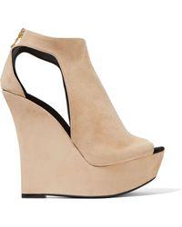 Balmain | Amaya Cutout Suede Platform Sandals | Lyst