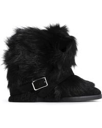 Gianvito Rossi - Buckled Shearling Ankle Boots - Lyst