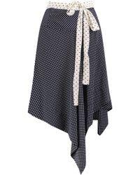 Alexis - Danica Wrap-effect Polka-dot And Striped Silk Skirt Midnight Blue - Lyst