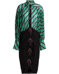 Marco De Vincenzo - Bow-detailed Striped Chiffon And Stretch-jersey Shirtdress - Lyst