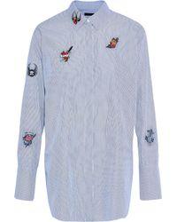 a07c26584a58b Belstaff - Woman Shauna Appliquéd Striped Cotton-poplin Shirt Light Blue -  Lyst