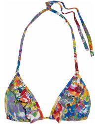 Stella McCartney - Ruffled Floral-print Triangle Bikini Top - Lyst
