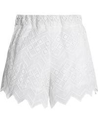 Nicholas - Woman Cotton-lace Shorts White - Lyst