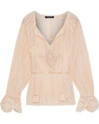 Love Sam - Tasseled Lace Cotton Blouse - Lyst