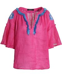 MARCH11 - Fringe-trimmed Embroidered Linen Tunic - Lyst