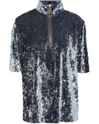 Marc Jacobs - Woman Crushed-velvet Top Grey Green - Lyst