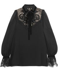Elie Saab - Pussy-bow Point D'esprit-paneled Chiffon Blouse - Lyst