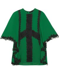 Elie Saab - Woman Tie-back Lace-trimmed Crepe Blouse Green - Lyst