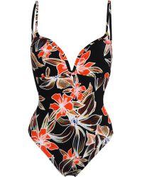 Heidi Klum - Woman Cutout Floral-print Swimsuit Black - Lyst