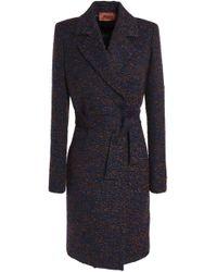 Missoni - Belted Bouclé-knit Coat Midnight Blue - Lyst