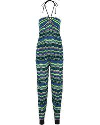 M Missoni - Crochet-knit Cotton-blend Halterneck Jumpsuit Light Green - Lyst