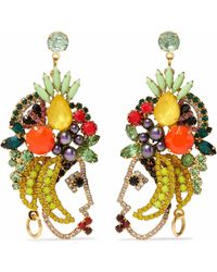 Elizabeth Cole - 24-karat Gold-plated, Swarovski Crystal, Faux Pearl And Stone Earrings - Lyst