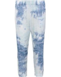 Enza Costa - Cropped Tie-dyed Satin Straight-leg Pants Sky Blue - Lyst