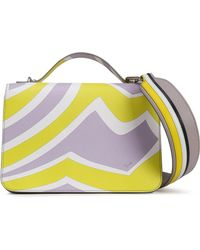 Emilio Pucci - Woman Printed Textured-leather Tote Lilac - Lyst