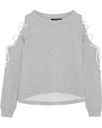 W118 by Walter Baker - Kennedy Cold-shoulder Lace-up Cotton-blend Jersey Sweatshirt - Lyst