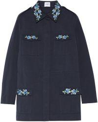 Vilshenko | Dawn Embroidered Cotton-gabardine Jacket | Lyst