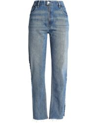 Levi's - Zip-detailed Distressed High-rise Straight-leg Jeans - Lyst