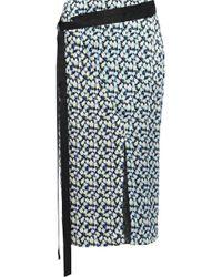 Jason Wu - Wrap-effect Printed Silk-georgette Skirt Light Blue - Lyst
