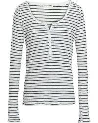 Rag & Bone - Woman Striped Cotton-jersey Top White - Lyst