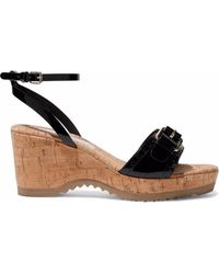 Stella McCartney - Buckled Faux Patent-leather And Cork Wedge Sandals - Lyst