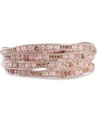 Chan Luu - Woman Sterling Silver, Cord, Bead And Stone Wrap Bracelet Rose Gold - Lyst