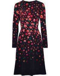 Lela Rose - Tiered Floral-print Crepe Dress - Lyst