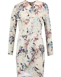 Michelle Mason - Wrap-effect Printed Crepe Mini Dress - Lyst