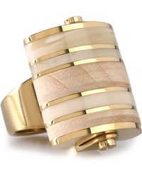 Lanvin - Gold-tone, Wood And Acrylic Ring - Lyst