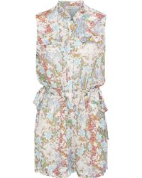 Balmain - Bow-detailed Floral-print Silk Crepe De Chine Playsuit - Lyst