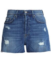 7 For All Mankind - Distressed Denim Shorts - Lyst