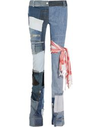 Ronald Van Der Kemp - Distressed Patchwork Low-rise Bootcut Jeans - Lyst