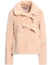 Shrimps - Woman Oliver Bow-embellished Faux Shearling Coat Peach - Lyst