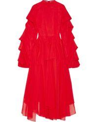 Awake - Draped Cotton Midi Dress - Lyst