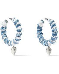 DANNIJO Lou Oxidized Silver-plated, Denim And Lace Hoop Earrings Light Denim