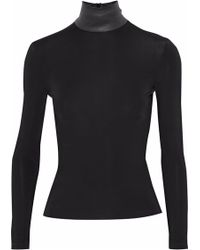 Helmut Lang - Leather-trimmed Stretch-jersey Turtleneck Top - Lyst