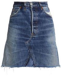 Levi's - Frayed High-rise Denim Mini Skirt Mid Denim - Lyst