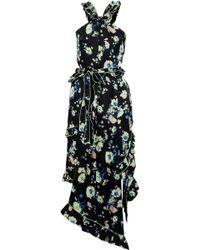 10 Crosby Derek Lam - Ruffled Floral-print Hammered-silk Midi Dress Black - Lyst