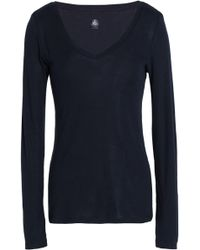 Petit Bateau - Woman Marled Cotton-jersey Top Navy - Lyst