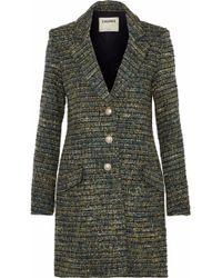 L'Agence - Bouvier Classic Tweed Coat Dark Green - Lyst