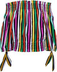 Caroline Constas - Lou Off-the-shoulder Striped Cotton-twill Top Multicolour - Lyst