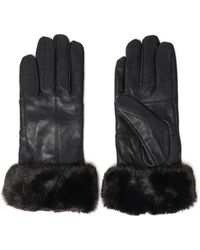 Surell - Woman Faux Fur-trimmed Leather Gloves Black - Lyst