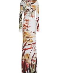 Roberto Cavalli - Off-the-shoulder Printed Stretch-jersey Gown - Lyst