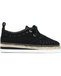 See By Chloé - Leather-trimmed Suede Platform Espadrille Sneakers - Lyst