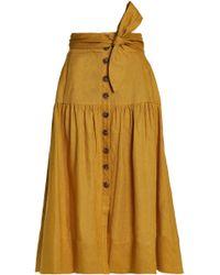 Sea - Woman Belted Gathered Linen Midi Skirt Mustard - Lyst
