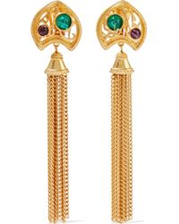 Ben-Amun - 24-karat Gold-plated Stone Tassel Clip Earrings - Lyst
